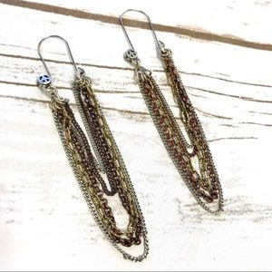 Lucky Brand Drop Chain Bronze Earrings